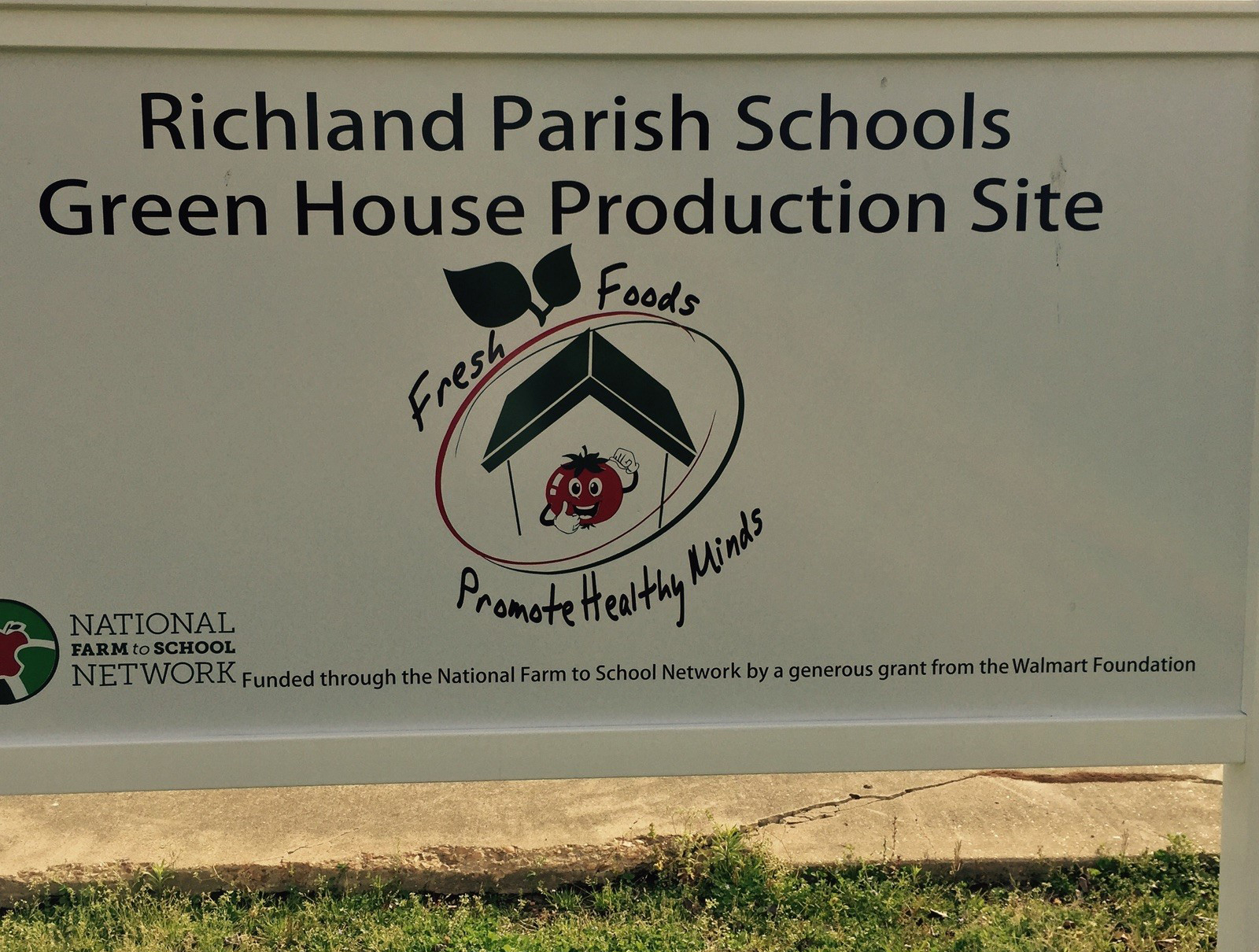 Richland Parish Schools Greenhouse Production Site Sign