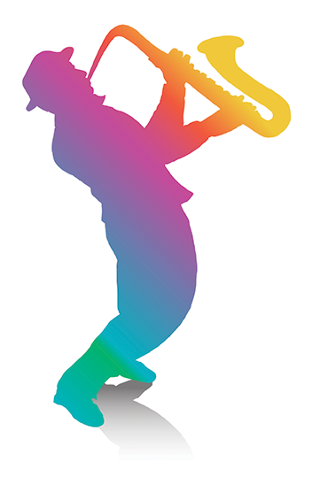 National School Lunch Week 2019 Colorful Sax Player Graphic