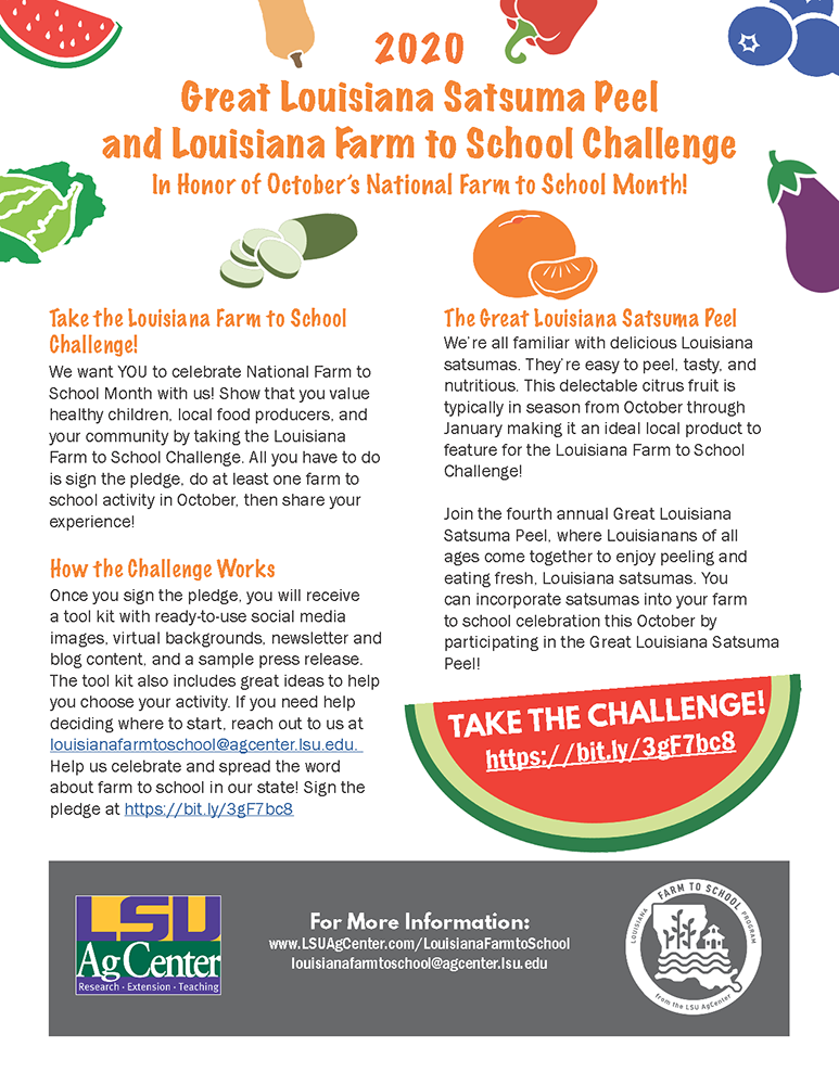 Louisiana Farm to School Challenge Graphic