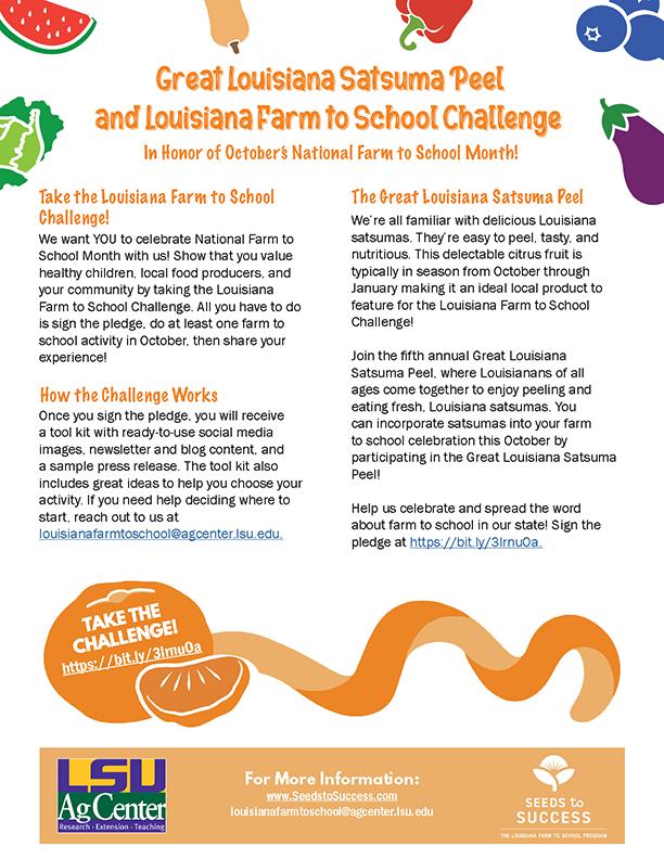 Great Louisiana Satsuma Peel and Louisiana Farm to School Challenge