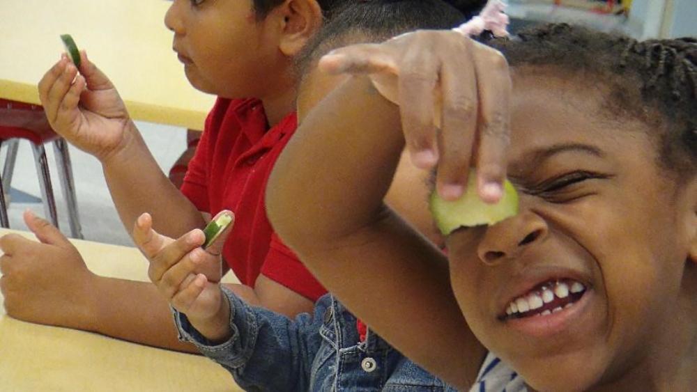 Jefferson Parish Students Tasting Cucumbers