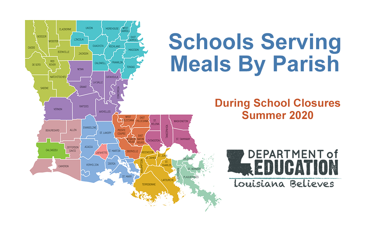 COVID-19 Schools Serving Meals by Parish Graphic