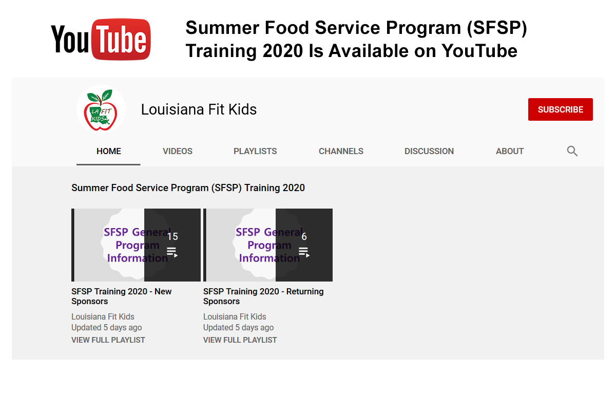 Summer Food Service Program (SFSP) Training 2020 Is Available on YouTube Graphic