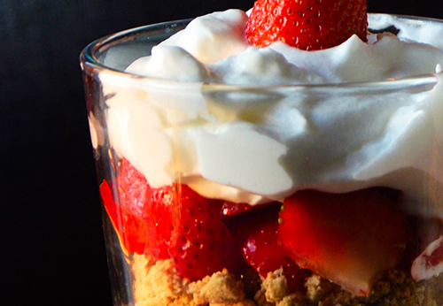 Fruit & Yogurt Parfait with Graham Crackers Photo