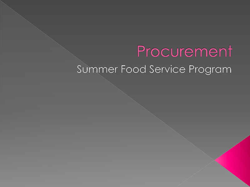 Procurement - Summer Food Service Program