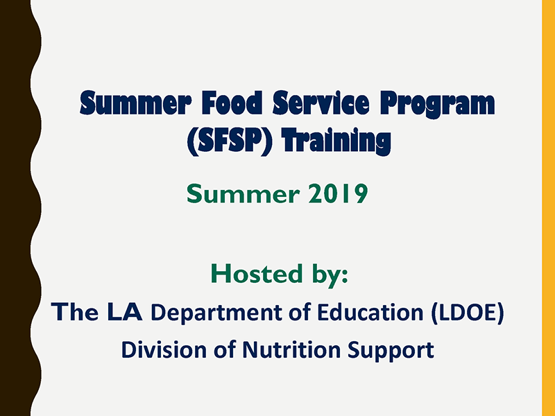 Summer Food Service Program (SFSP) Training - Summer 2019