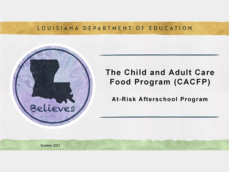 CACFP At-Risk Afterschool Program