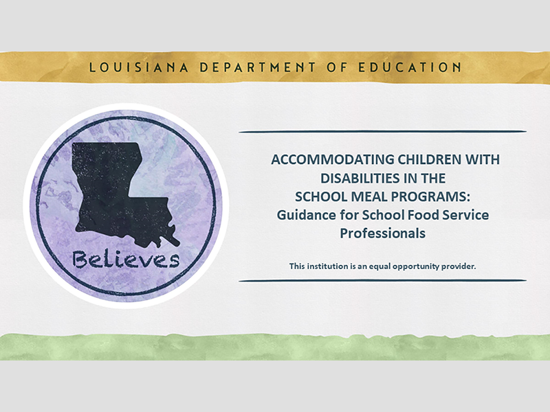 Accommodating Children with Disabilities in the School Meals Programs