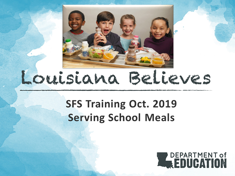 SFS Training Oct. 2019 - Serving School Meals