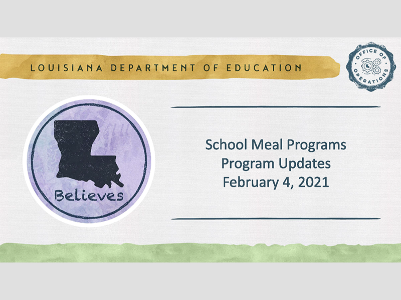 CNP School Meal Programs Program Updates