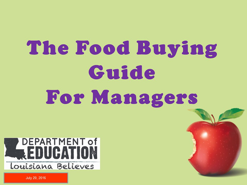 The Food Buying Guide for Managers