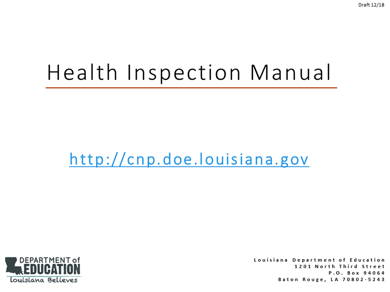 Health Inspection Manual