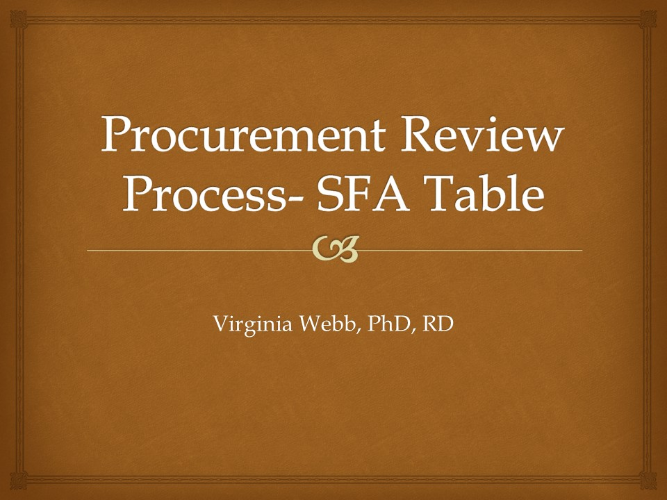 Procurement Review Process - SFA Table