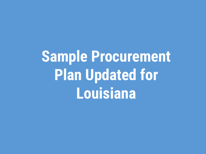 Sample Procurement Plan Updated for Louisiana