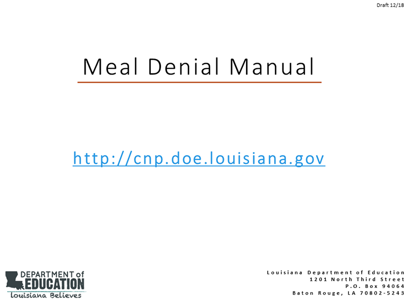 Meal Denial Manual