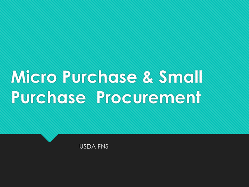 Micro Purchase & Small Purchase Procurement