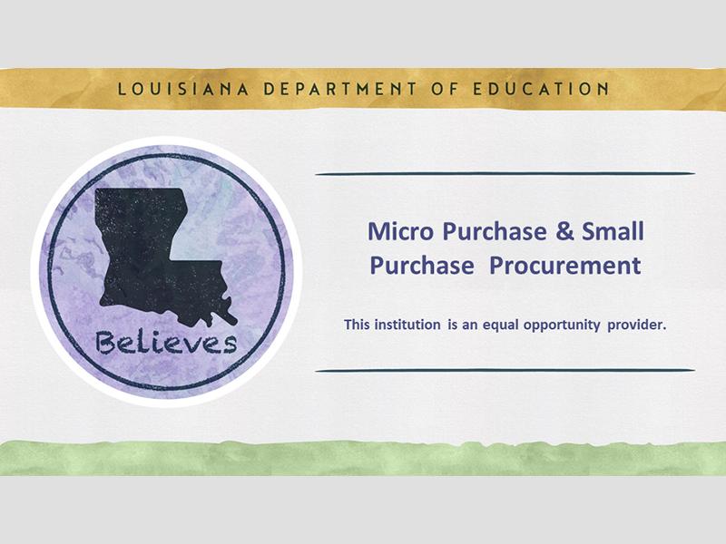 Mini Purchase & Small Purchase Procurement