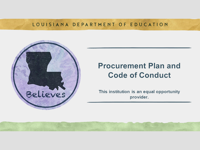 Procurement Plan and Code of Conduct