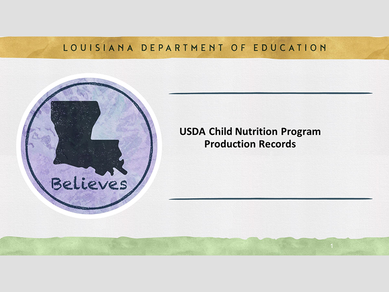 USDA Child Nutrition Program Production Records - September 9, 2021