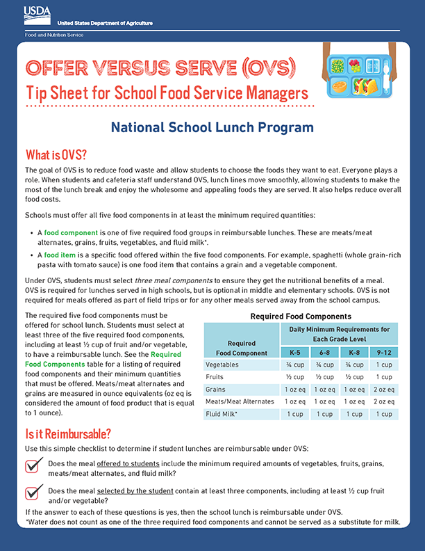 Offer Versus Serve (OVS) Tip Sheet for School Food Service Managers Icon