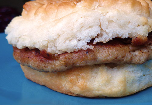 Biscuit with Turkey Sausage Patty Photo