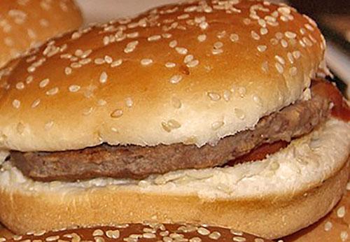 Hamburger on Whole Wheat Bun Photo