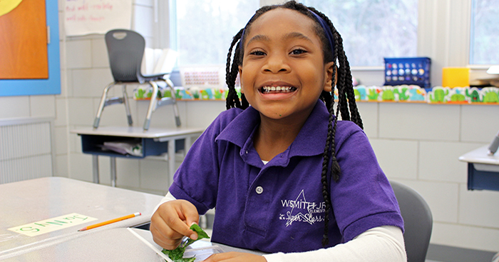 Student Eating Lunch at W. Smith Jr. Elementary School